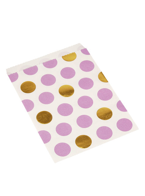 25 little paper bags in purple and gold polka dots - Pattern Works
