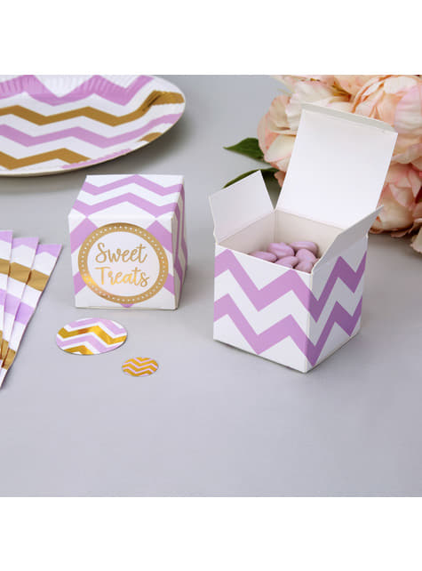 10 cajitas de zigzag morado y blanco - Pattern Works Purple
