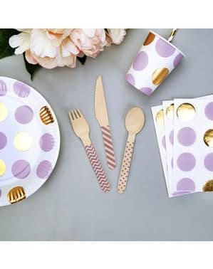 24 couverts à motifs violets en bois - Wooden Cutlery Set