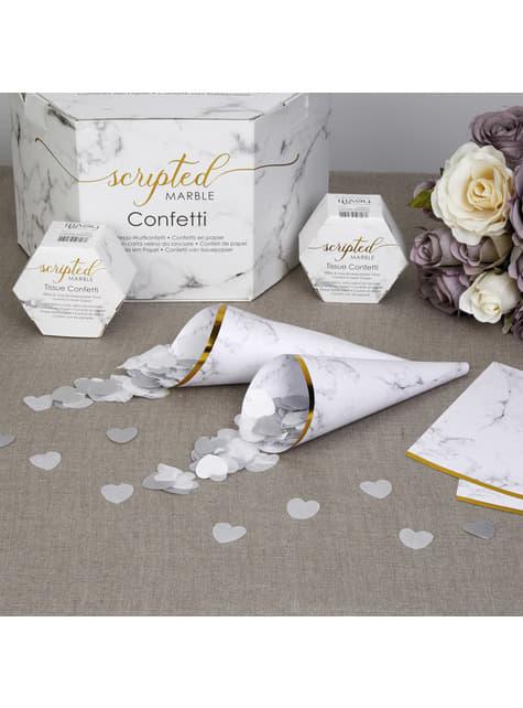10 sydämenmuotoista konfettituuttia harmaavalkoisina – Scripted Marble