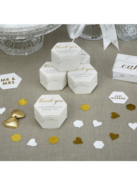 10 boîtes cadeaux hexagonales en carton - Scripted Marble
