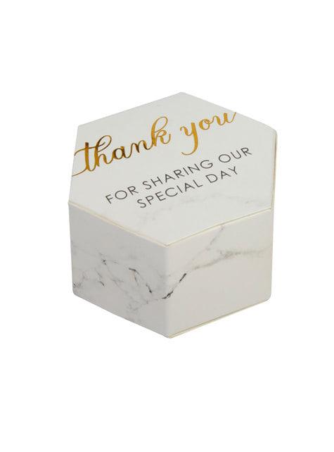 10 cajitas de regalo hexagonales de papel - Scripted Marble