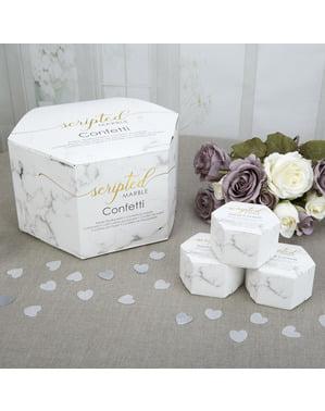 Комплект от 21 мини сърцевидни кутии за конфети - Scripted Marble