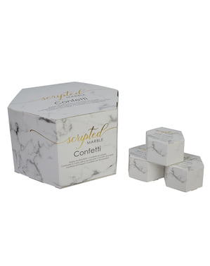 21 mini heart shaped confetti boxes - Scripted Marble