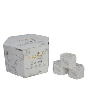 Set 21 kotak confetti berbentuk jantung mini - Marble Script