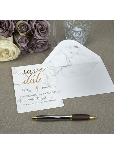 10 invitaciones para boda de papel - Scripted Marble
