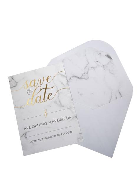 10 faire-part de mariage en carton - Scripted Marble