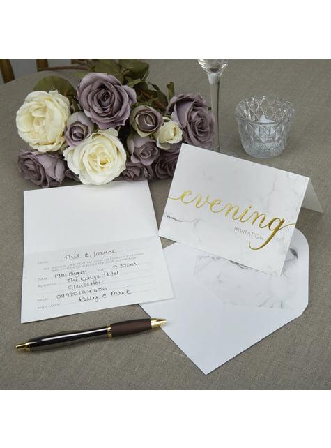 10 invitaciones para boda de tarde de papel - Scripted Marble