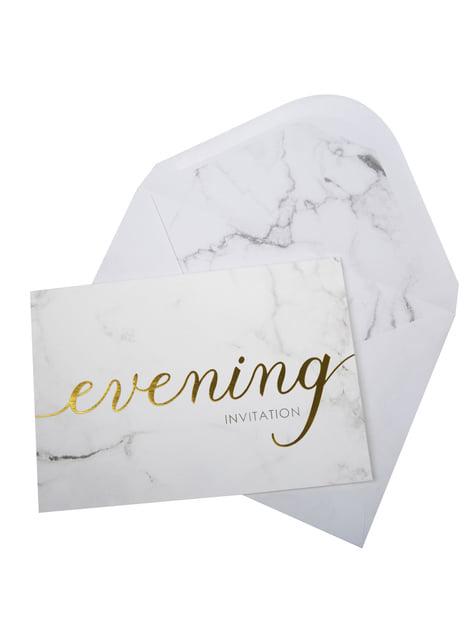 10 invitaciones para boda de tarde de papel - Scripted Marble - para tus fiestas