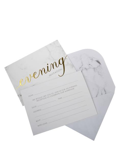 10 invitaciones para boda de tarde de papel - Scripted Marble - barato