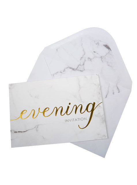 10 invitaciones para boda de tarde de papel - Scripted Marble - comprar