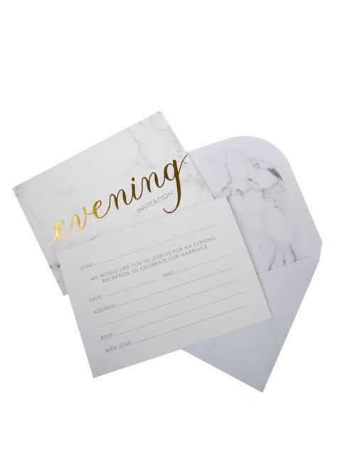 10 invitaciones para boda de tarde de papel - Scripted Marble - para niños y adultos
