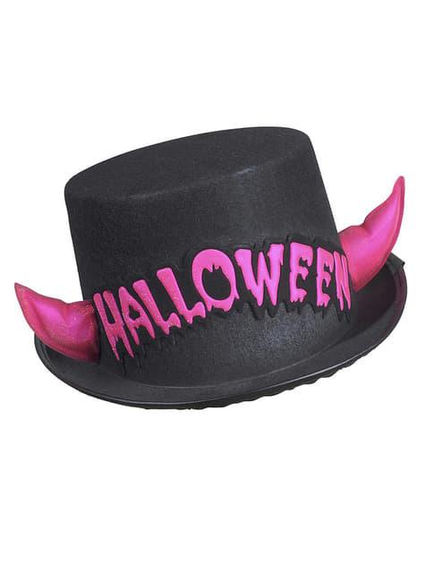 Sombrero de copa halloween cuernos rosas