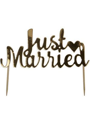 "Złota dekoracja ciasta ""Just Married"" - Scripted Marble"