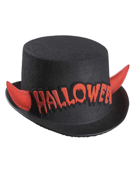 Halloween felső kalap vörös szarvakkal