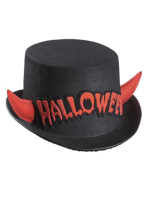 Цилиндр хэллоуин с красными рогами