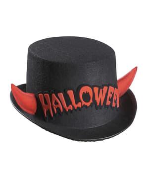 Halloween hög hatt med röda horn