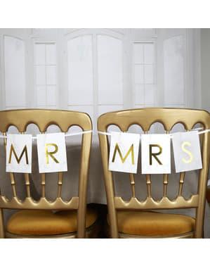 """Dekoracja krzesła """"Mr"""" & """"Mrs"""" - Scripted Marble"""