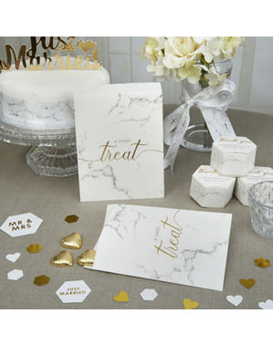 Set of 25 little paper sweet bags - Scripted Marble