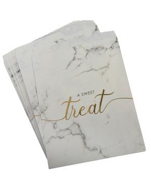 25 sachets à bonbons en papier - Scripted Marble