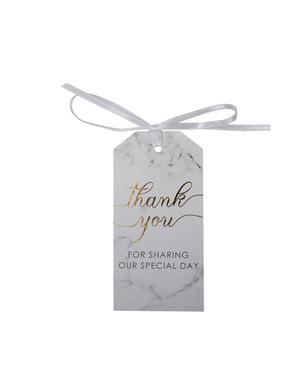 """Zestaw 10 duże etykiety na stół """"Thank You"""" - Scripted Marble"""