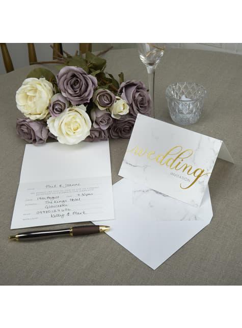 10 invitaciones para boda de día de papel - Scripted Marble