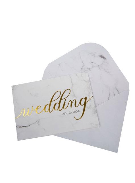 10 invitaciones para boda de día de papel - Scripted Marble - para tus fiestas