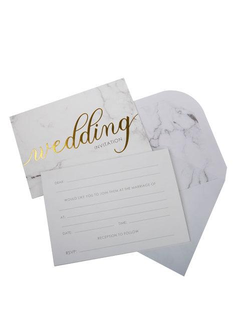10 invitaciones para boda de día de papel - Scripted Marble - barato