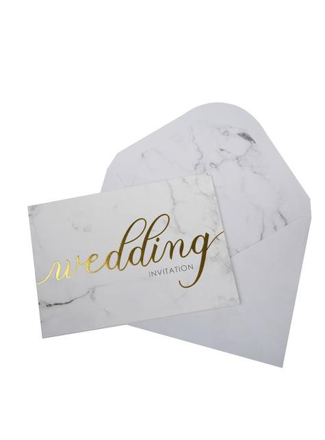 10 invitaciones para boda de día de papel - Scripted Marble - comprar