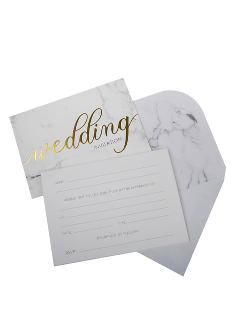 10 invitaciones para boda de día de papel - Scripted Marble - para niños y adultos