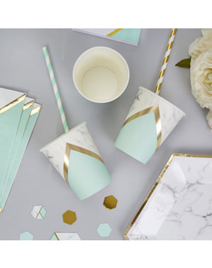 8 paper cups with geometric mint green pattern - Colour Block Marble