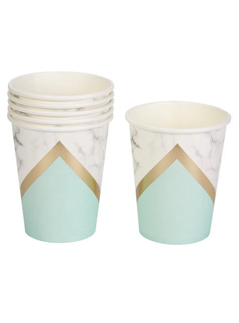 8 gobelets motifs géométrique couleur vert menthe en carton - Colour Block Marble