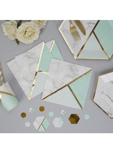 16 servilletas estampado geométrico verde menta de papel (33x33 cm) - Colour Block Marble