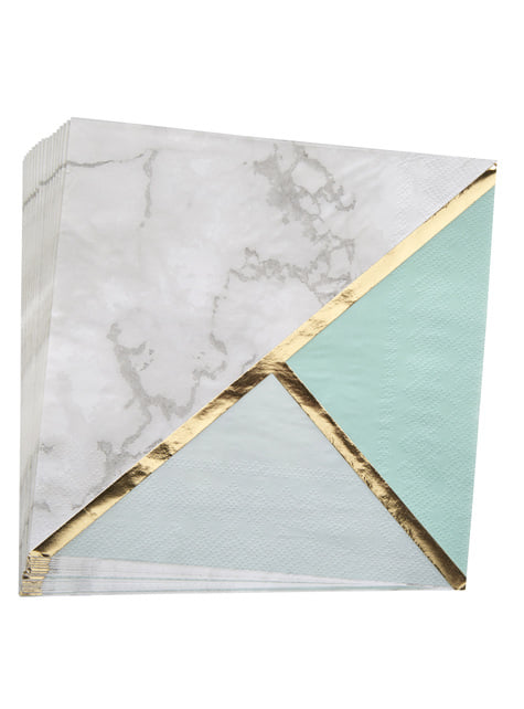 16 paper napkins in geometric mint green patter (33x33 cm) - Colour Block Marble