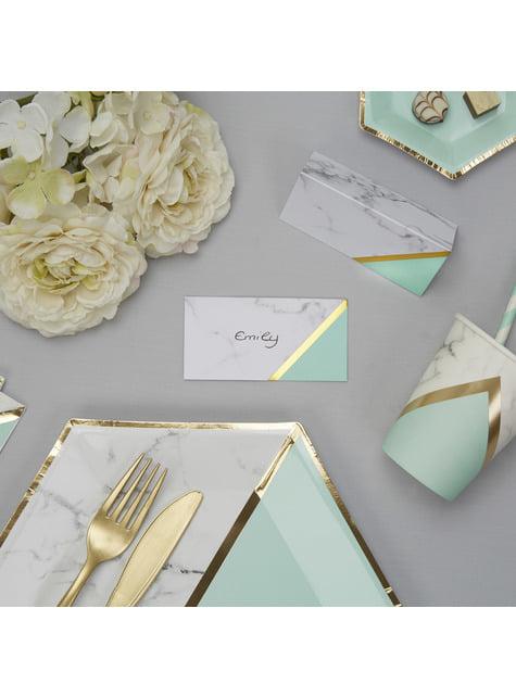 10 marcasitios para mesa estampado geométrico verde menta de papel - Colour Block Marble