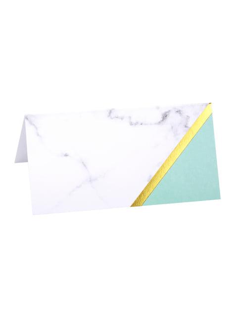10 marcasitios para mesa estampado geométrico verde menta de papel - Colour Block Marble - para tus fiestas