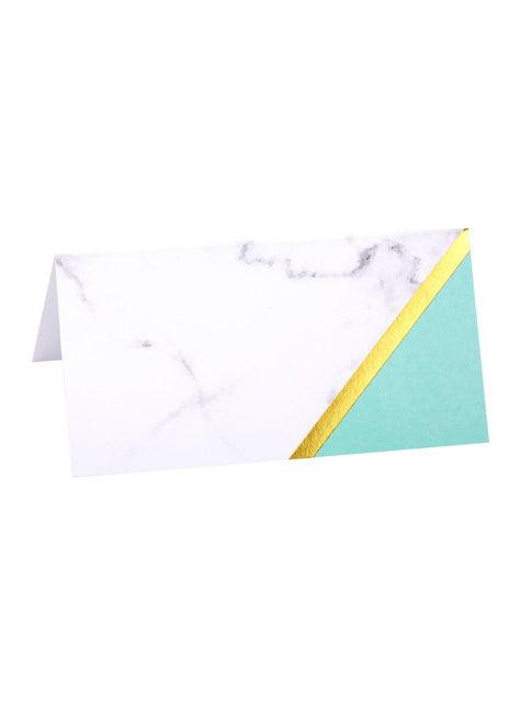 10 marcasitios para mesa estampado geométrico verde menta de papel - Colour Block Marble - barato