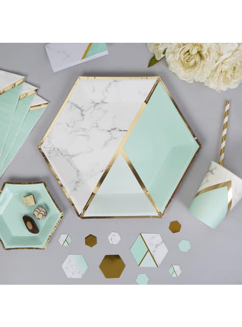 8 platos hexagonales estampado geométrico verde menta de papel (27 cm) - Colour Block Marble