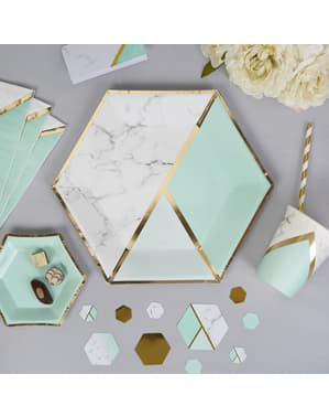 8 big hexagonal paper plates in geometric mint green patter (27 cm) - Colour Block Marble
