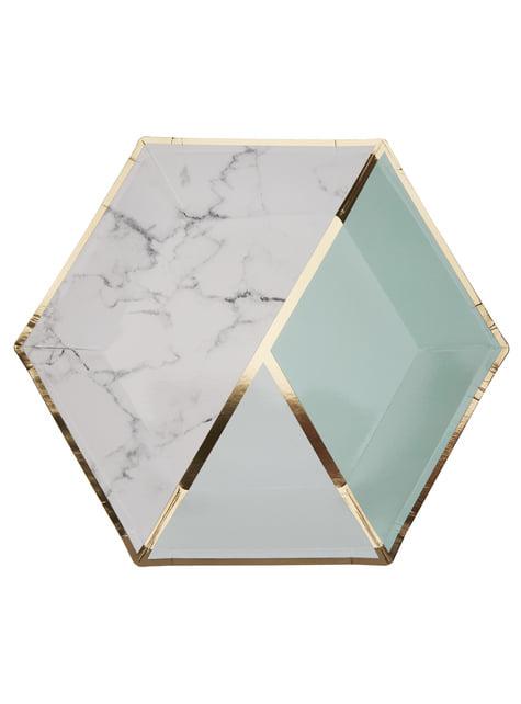 Conjunto de 8 pratos grandes hexagonais estampado geométrico verde menta de papel - Colour Block Marble