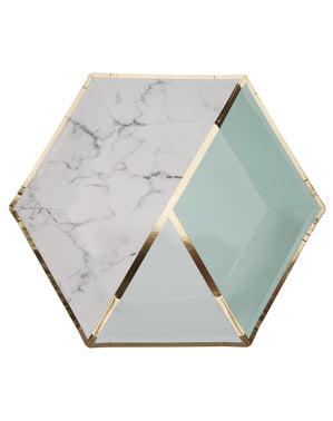 Комплект от 8 големи шестоъгълни хартиени чинии в геометричен монетен зелен модел - Color Block Marble
