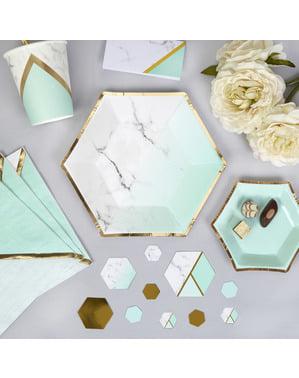 8 farfurii hexagonale medii cu motive geometrice verde mentă de carton (20 cm) - Colour Block Marble