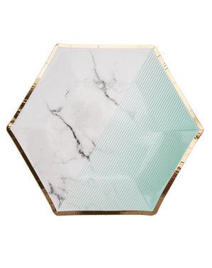 8 keskikokoista kuusikulmaista paperilautasta geometrisellä mintunvihreällä kuviolla – Colour Block Marble