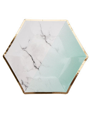 8 papperstallrikar hexagonala mellanstorlek geometriskt tryck mintgröna  (20 cm) - Colour Block Marble