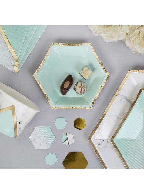 8 platos pequeños hexagonales estampado geométrico verde menta de papel (12,5 cm) - Colour Block Marble