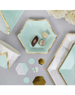 8 pientä kuusikulmaista paperilautasta geometrisellä mintunvihreällä kuviolla – Colour Block Marble