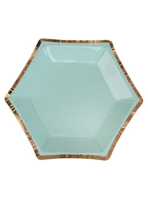 8 platos pequeños hexagonales estampado geométrico verde menta de papel (12,5 cm) - Colour Block Marble - para tus fiestas