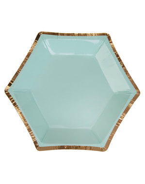 8 small hexagonal paper plates with geometric mint green patter (12,5 cm) - Colour Block Marble