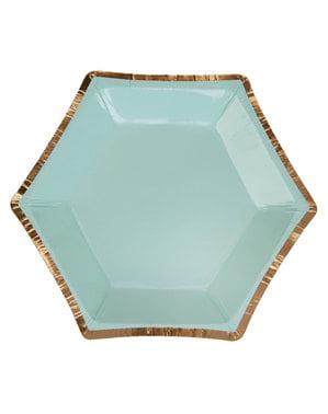 Zestaw 8 małe sześciokątne papierowe talerze geometryczny wzór miętowa zieleń - Colour Block Marble