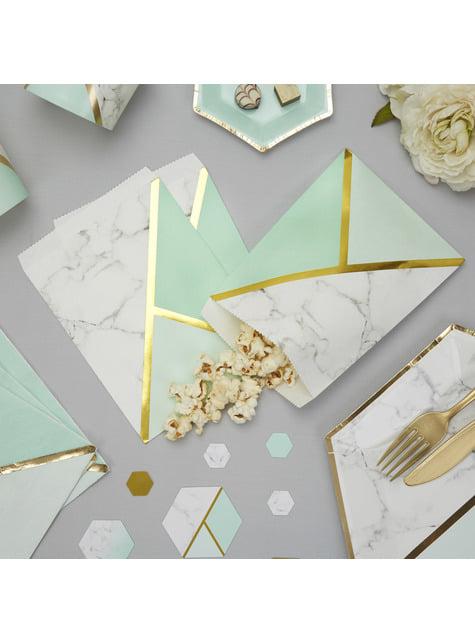 25 bolsitas de papel estampado geométrico verde menta de papel - Colour Block Marble